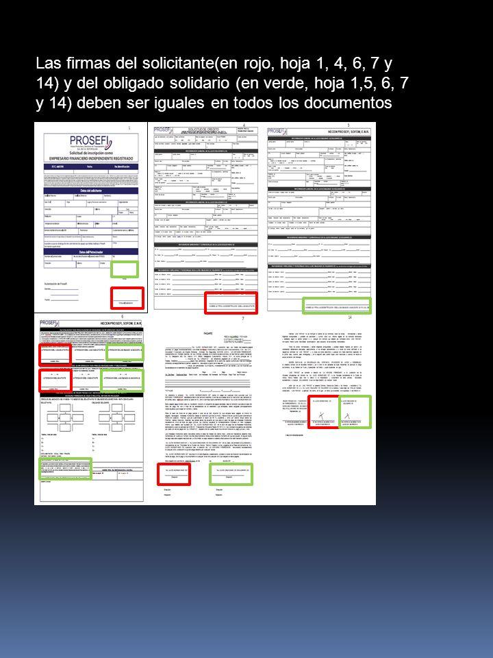 Las firmas del solicitante(en rojo, hoja 1, 4, 6, 7 y 14) y del obligado solidario (en verde, hoja 1,5, 6, 7 y 14) deben ser iguales en todos los docu