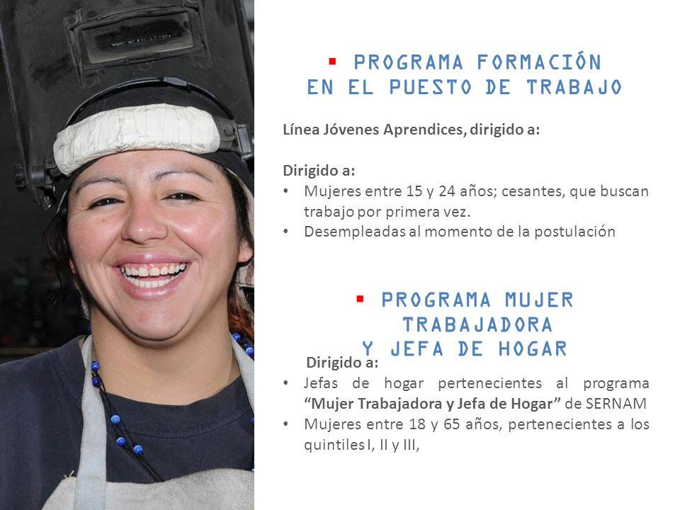 PROGRAMA FORMACIÓN EN EL PUESTO DE TRABAJO Línea Jóvenes Aprendices, dirigido a: Dirigido a: Mujeres entre 15 y 24 años; cesantes, que buscan trabajo por primera vez.