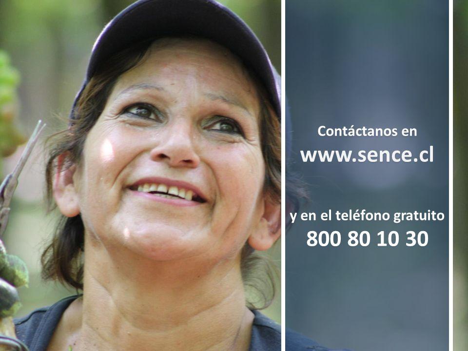 Contáctanos en www.sence.cl y en el teléfono gratuito 800 80 10 30 Contáctanos en www.sence.cl y en el teléfono gratuito 800 80 10 30