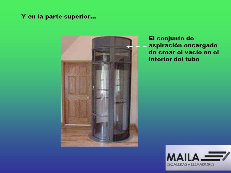 Y en la parte superior… El conjunto de aspiración encargado de crear el vacío en el interior del tubo