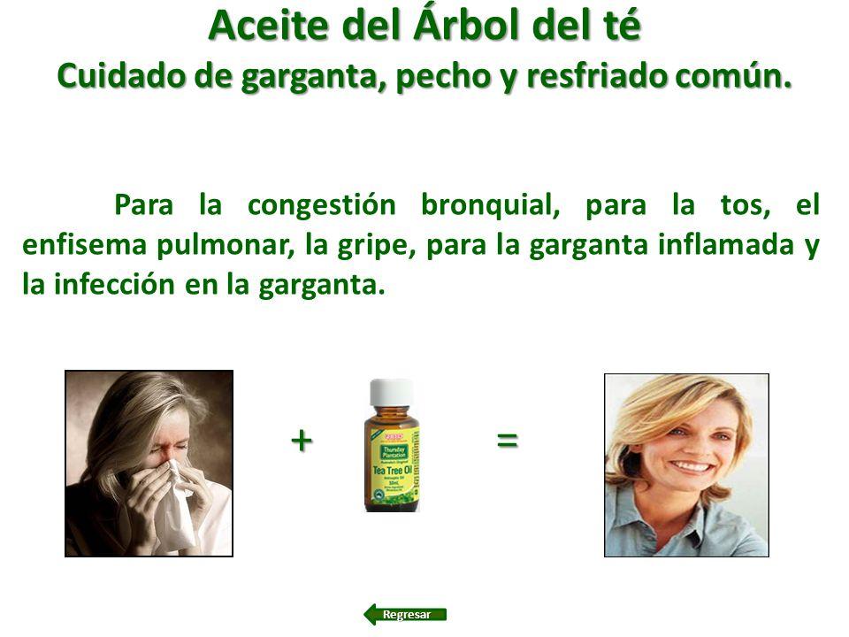 Aceite del Árbol del té Cuidado de garganta, pecho y resfriado común. Para la congestión bronquial, para la tos, el enfisema pulmonar, la gripe, para