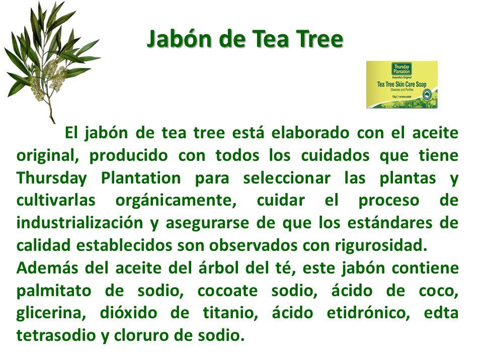 El jabón de tea tree está elaborado con el aceite original, producido con todos los cuidados que tiene Thursday Plantation para seleccionar las planta