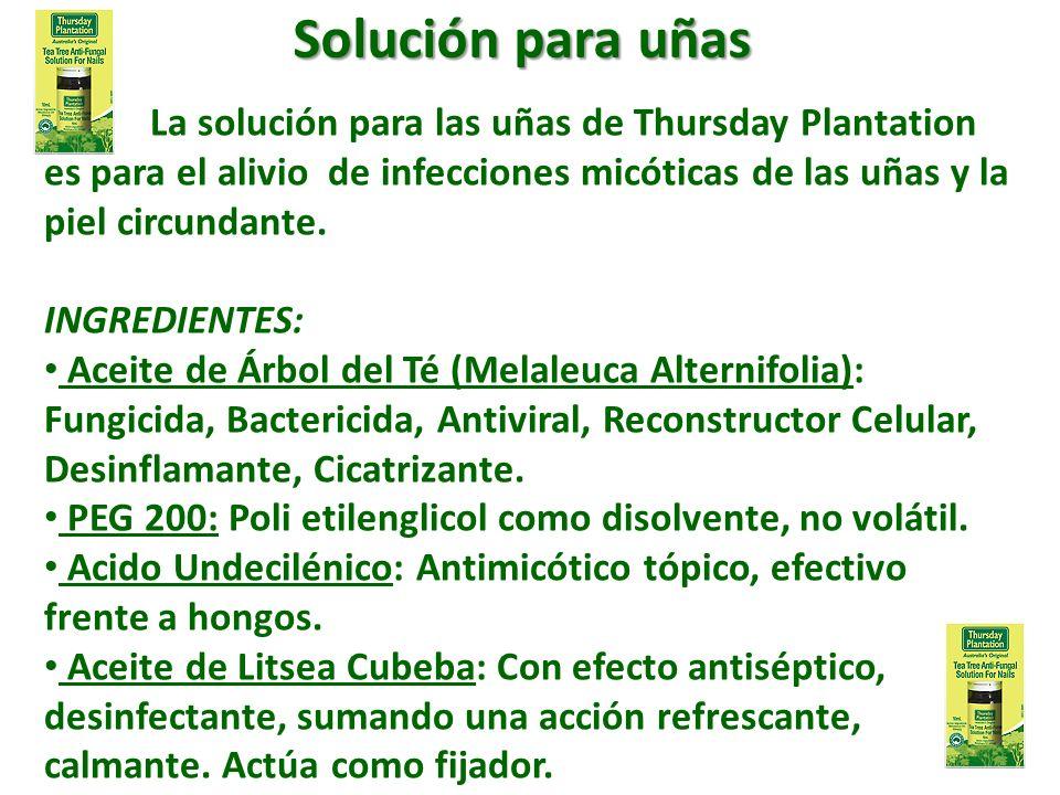 La solución para las uñas de Thursday Plantation es para el alivio de infecciones micóticas de las uñas y la piel circundante. INGREDIENTES: Aceite de