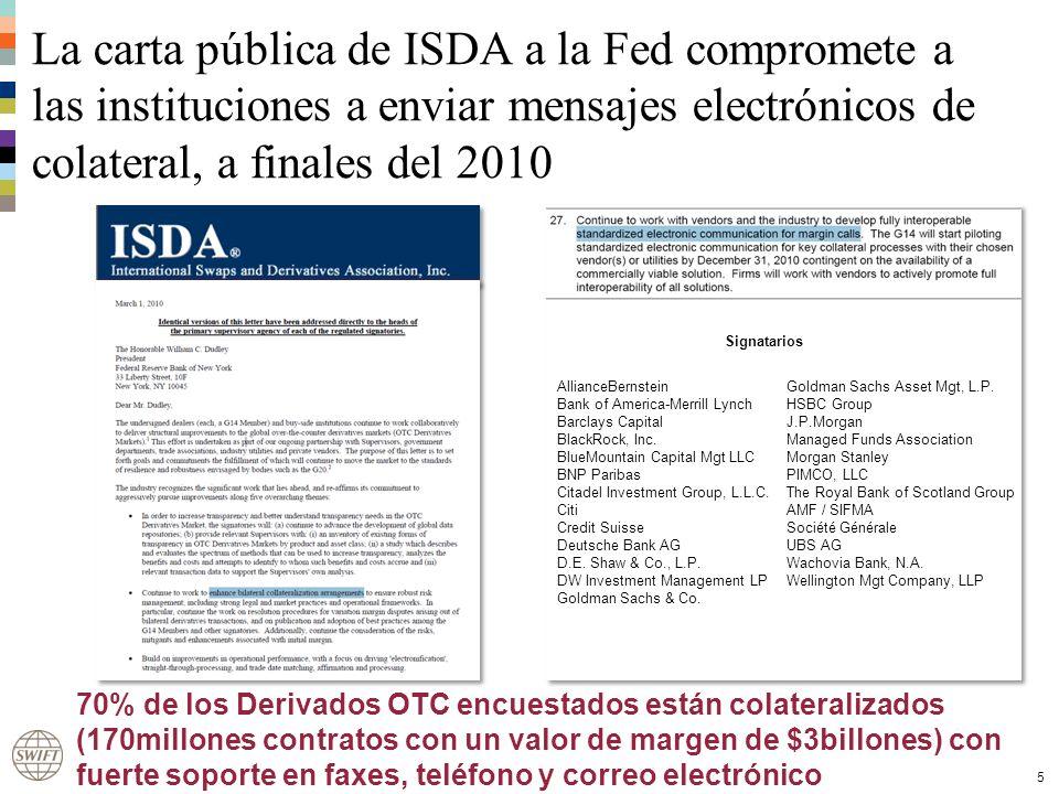 La carta pública de ISDA a la Fed compromete a las instituciones a enviar mensajes electrónicos de colateral, a finales del 2010 5 AllianceBernstein Bank of America-Merrill Lynch Barclays Capital BlackRock, Inc.