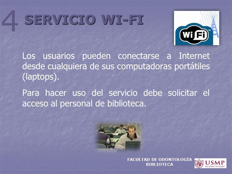 Los usuarios pueden conectarse a Internet desde cualquiera de sus computadoras portátiles (laptops). Para hacer uso del servicio debe solicitar el acc