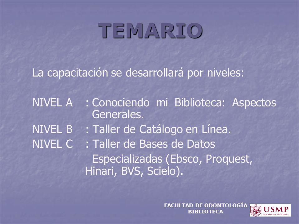 TEMARIO La capacitación se desarrollará por niveles: NIVEL A:Conociendo mi Biblioteca: Aspectos Generales. NIVEL B: Taller de Catálogo en Línea. NIVEL