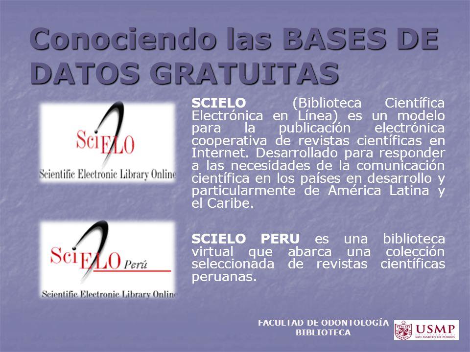 Conociendo las BASES DE DATOS GRATUITAS SCIELO (Biblioteca Científica Electrónica en Línea) es un modelo para la publicación electrónica cooperativa d