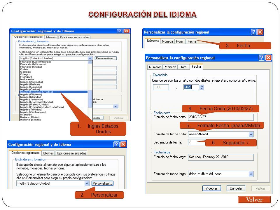 1.Ingles Estados Unidos 2.Personalizar 3.Fecha 4.Fecha Corta (2010/02/27) 5.Formato Fecha (aaaa/MM/dd) 6.Separador / Volver