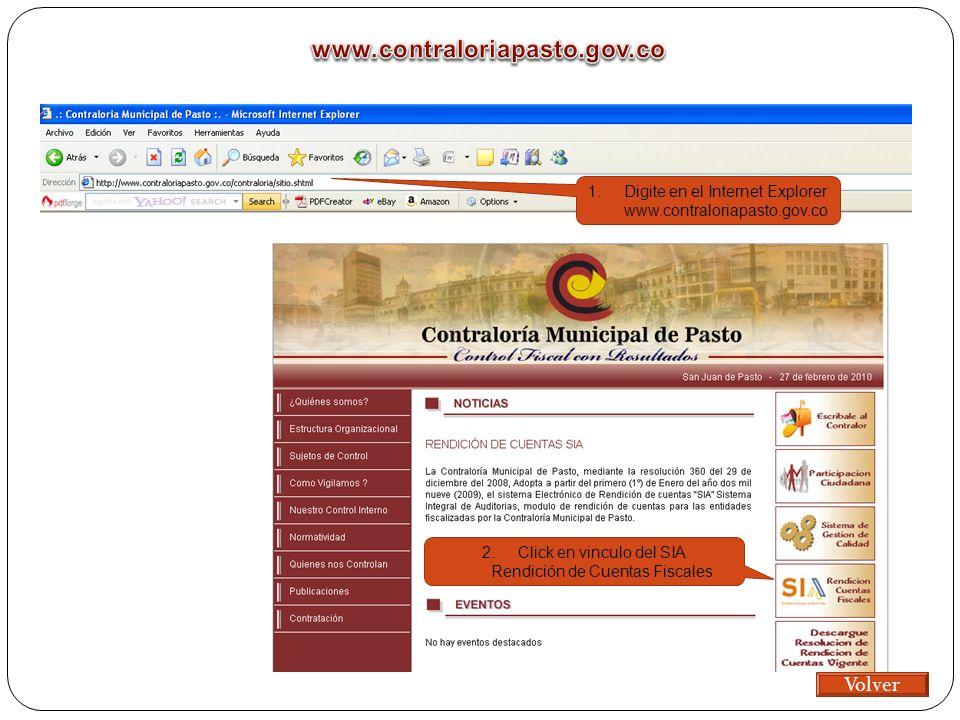 1.Digite en el Internet Explorer www.contraloriapasto.gov.co 2.Click en vinculo del SIA Rendición de Cuentas Fiscales Volver