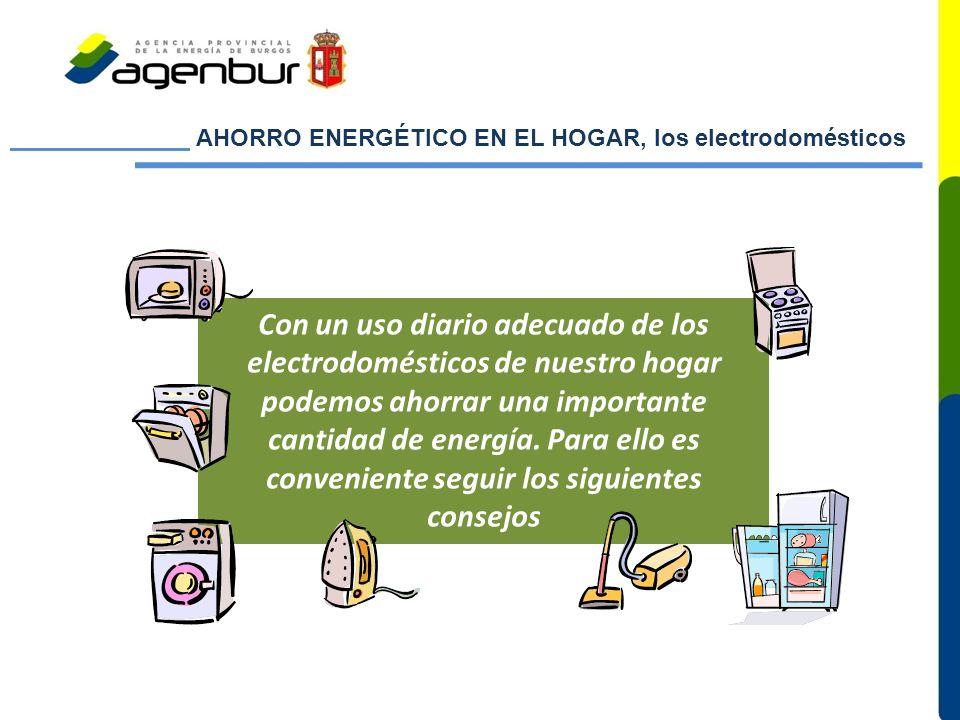 AHORRO ENERGÉTICO EN EL HOGAR, los electrodomésticos Con un uso diario adecuado de los electrodomésticos de nuestro hogar podemos ahorrar una importante cantidad de energía.