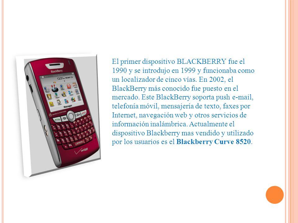 El primer dispositivo BLACKBERRY fue el 1990 y se introdujo en 1999 y funcionaba como un localizador de cinco vías.