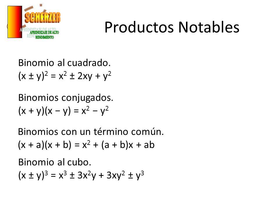 Productos Notables Binomio al cuadrado. (x ± y) 2 = x 2 ± 2xy + y 2 Binomios conjugados. (x + y)(x y) = x 2 y 2 Binomios con un término común. (x + a)