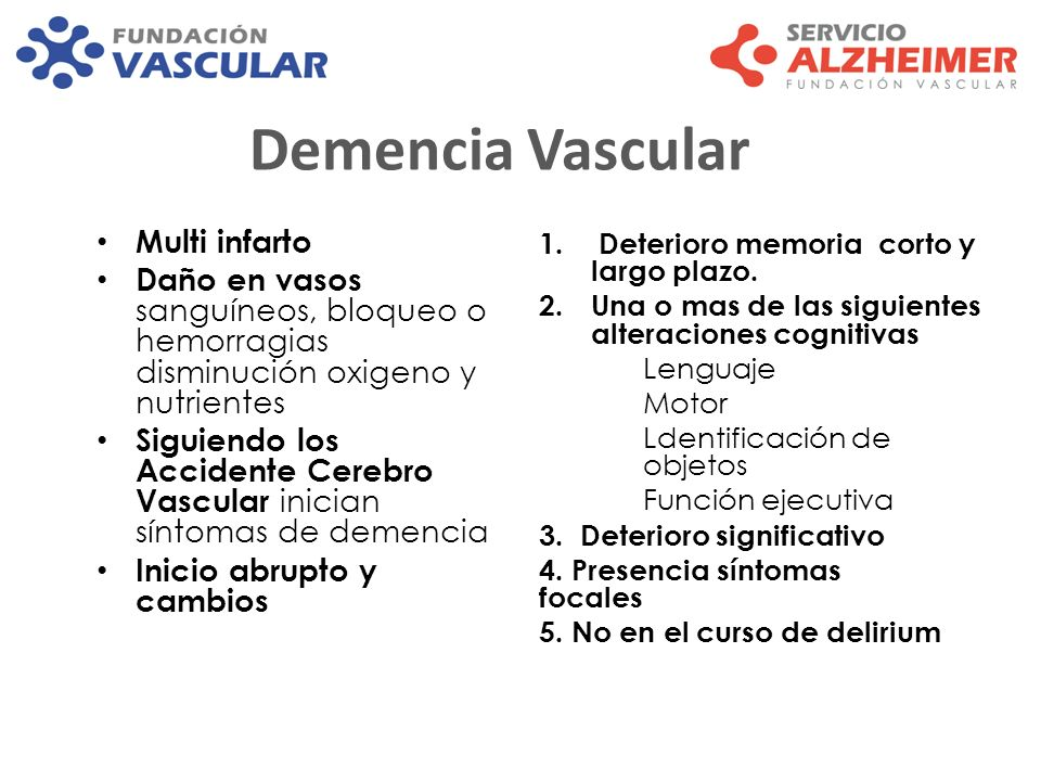 Demencia Vascular Multi infarto Daño en vasos sanguíneos, bloqueo o hemorragias disminución oxigeno y nutrientes Siguiendo los Accidente Cerebro Vascu