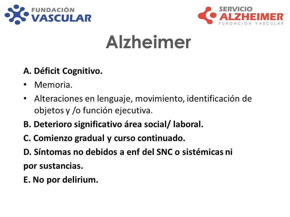 Alzheimer A. Déficit Cognitivo. Memoria. Alteraciones en lenguaje, movimiento, identificación de objetos y /o función ejecutiva. B. Deterioro signific