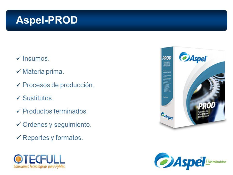 Insumos. Materia prima. Procesos de producción. Sustitutos. Productos terminados. Ordenes y seguimiento. Reportes y formatos. Aspel-PROD