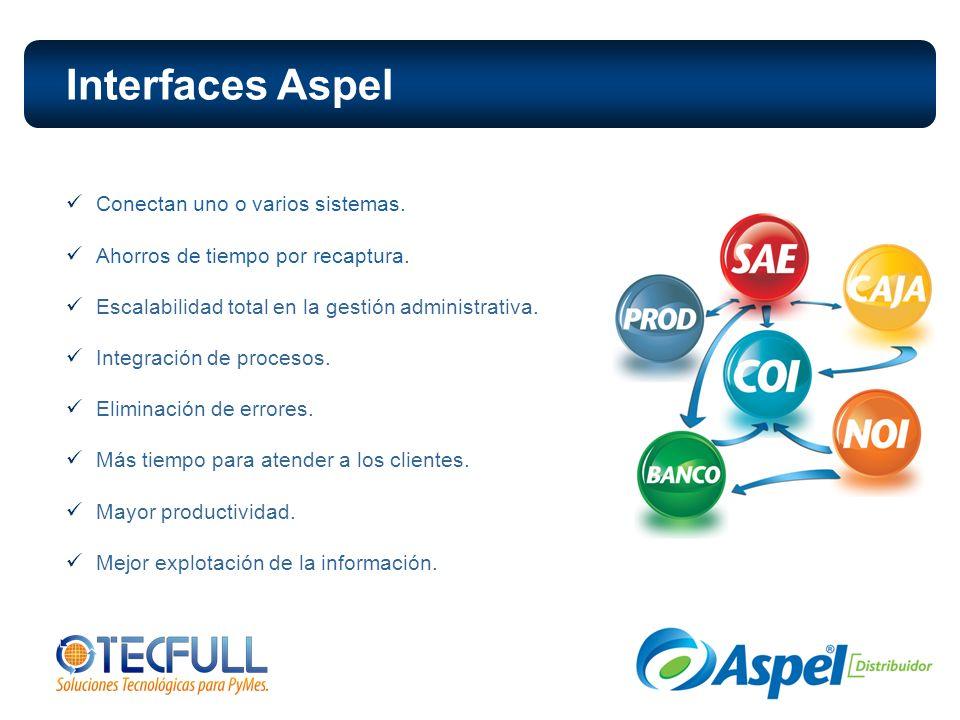 Interfaces Aspel Conectan uno o varios sistemas. Ahorros de tiempo por recaptura. Escalabilidad total en la gestión administrativa. Integración de pro