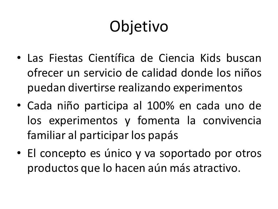 Objetivo Las Fiestas Científica de Ciencia Kids buscan ofrecer un servicio de calidad donde los niños puedan divertirse realizando experimentos Cada n