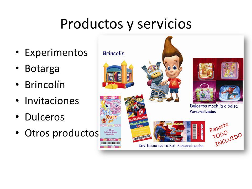 Productos y servicios Experimentos Botarga Brincolín Invitaciones Dulceros Otros productos