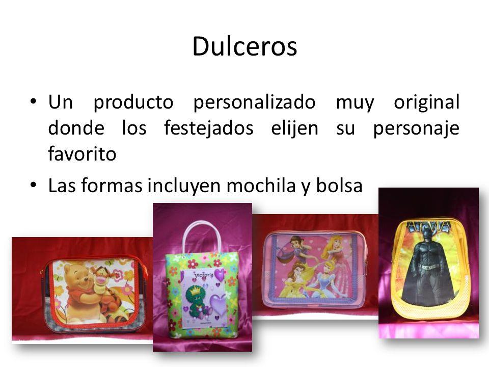 Dulceros Un producto personalizado muy original donde los festejados elijen su personaje favorito Las formas incluyen mochila y bolsa