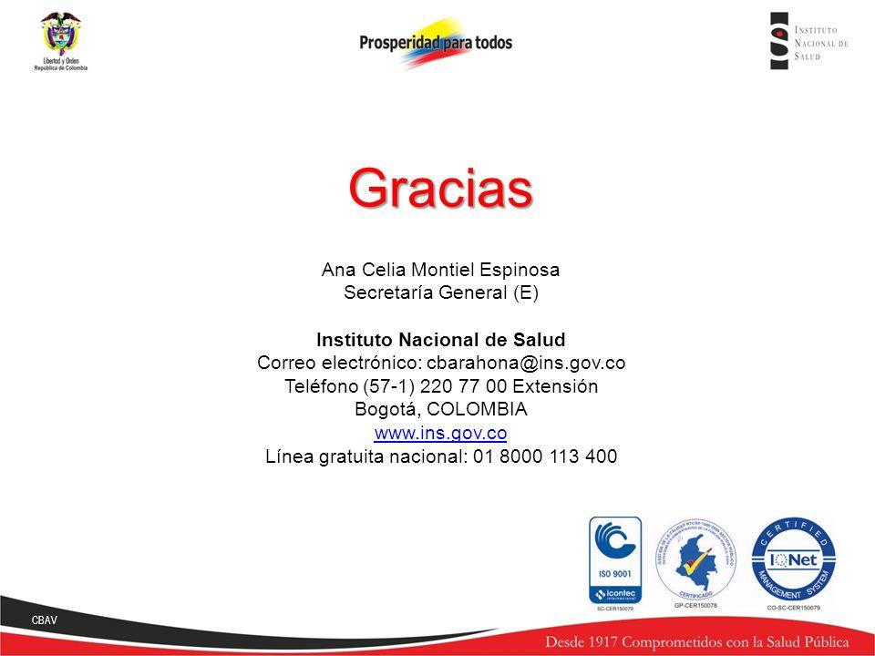 Gracias Ana Celia Montiel Espinosa Secretaría General (E) Instituto Nacional de Salud Correo electrónico: cbarahona@ins.gov.co Teléfono (57-1) 220 77