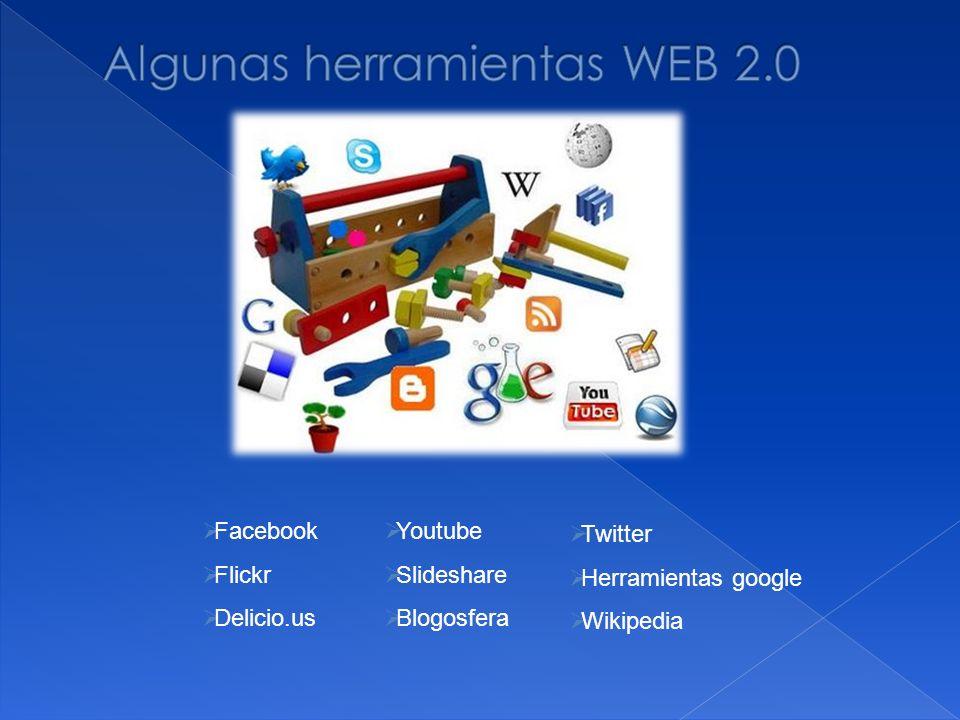 Facebook Flickr Delicio.us Youtube Slideshare Blogosfera Twitter Herramientas google Wikipedia