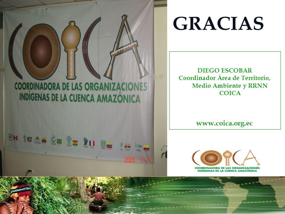 GRACIAS DIEGO ESCOBAR Coordinador Área de Territorio, Medio Ambiente y RRNN COICA www.coica.org.ec