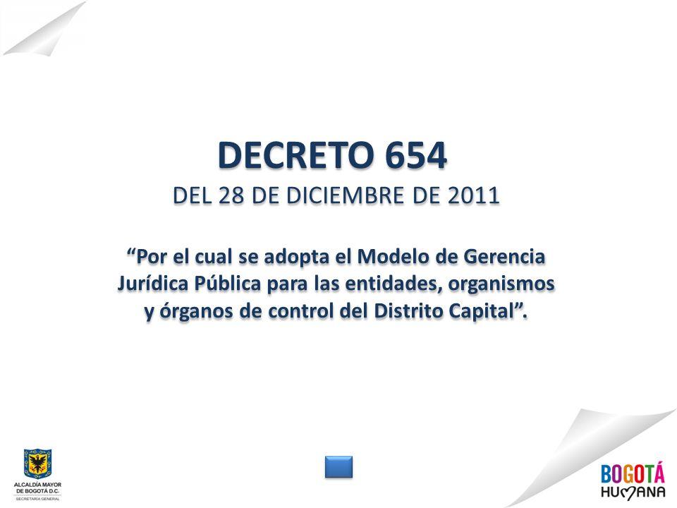 DECRETO 654 DEL 28 DE DICIEMBRE DE 2011 Por el cual se adopta el Modelo de Gerencia Jurídica Pública para las entidades, organismos y órganos de control del Distrito Capital.