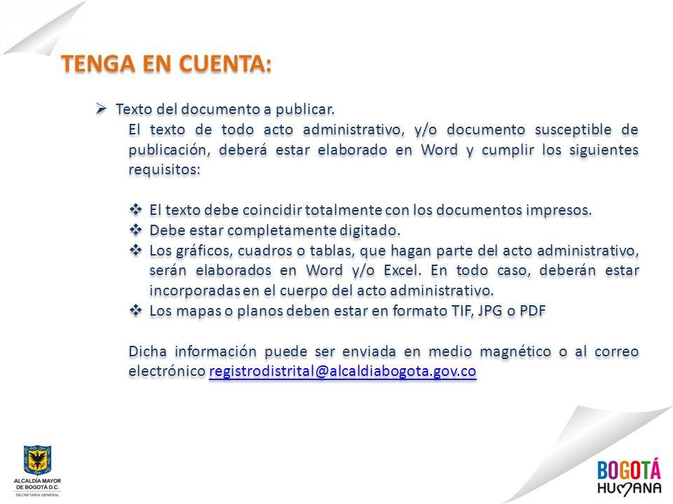 TENGA EN CUENTA: Texto del documento a publicar.