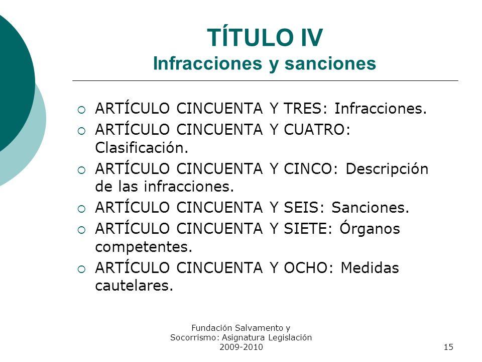 TÍTULO IV Infracciones y sanciones ARTÍCULO CINCUENTA Y TRES: Infracciones. ARTÍCULO CINCUENTA Y CUATRO: Clasificación. ARTÍCULO CINCUENTA Y CINCO: De