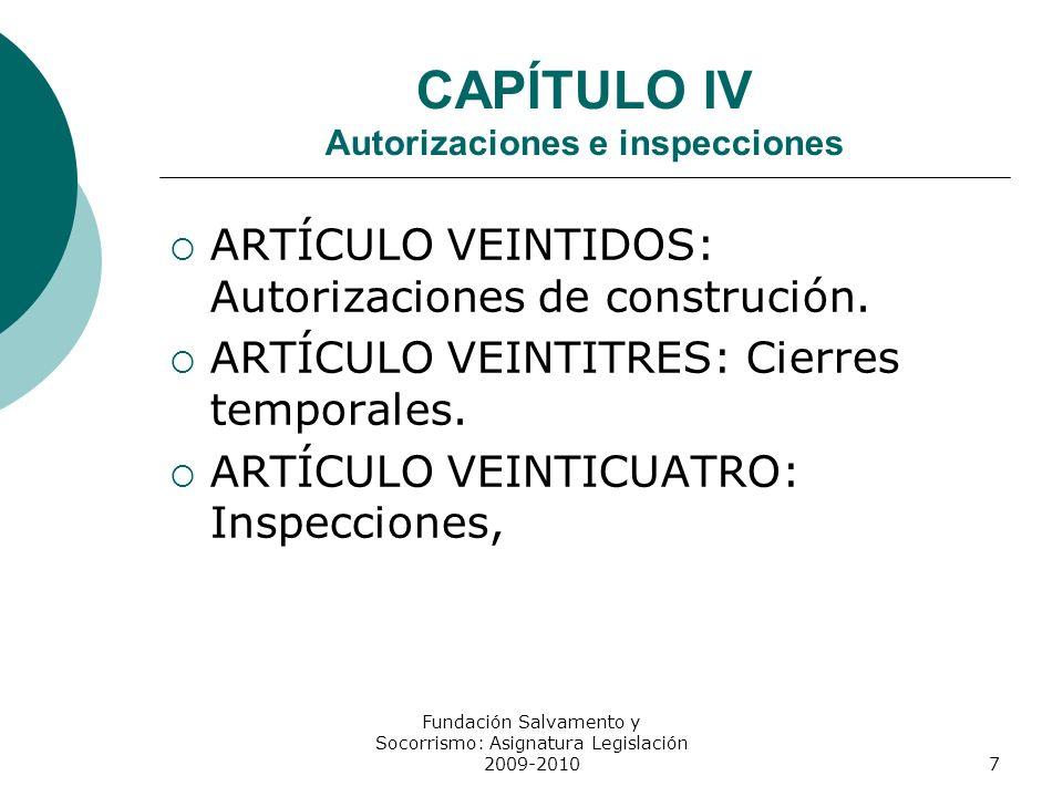 CAPÍTULO IV Autorizaciones e inspecciones ARTÍCULO VEINTIDOS: Autorizaciones de construción. ARTÍCULO VEINTITRES: Cierres temporales. ARTÍCULO VEINTIC