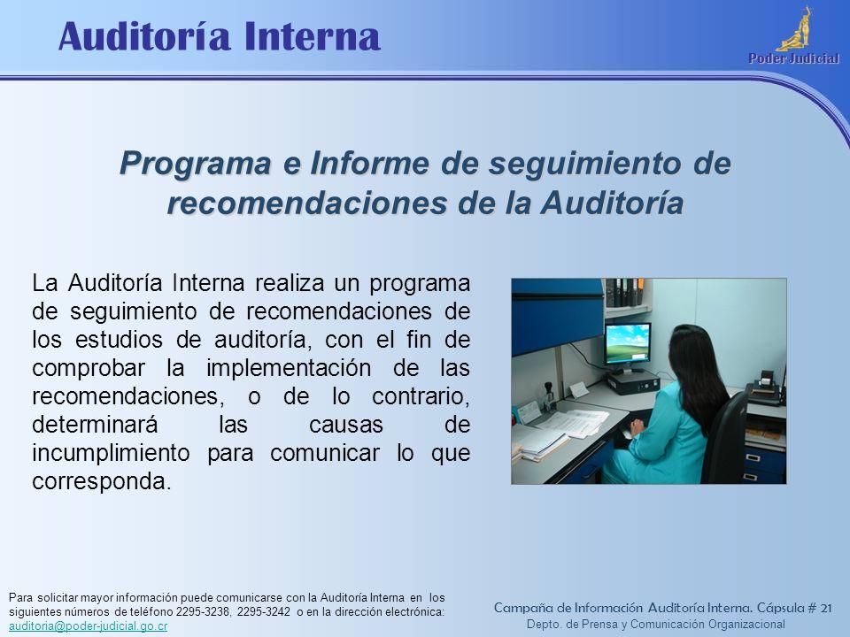 Auditoría Interna Poder Judicial Depto. de Prensa y Comunicación Organizacional Programa e Informe de seguimiento de recomendaciones de la Auditoría C