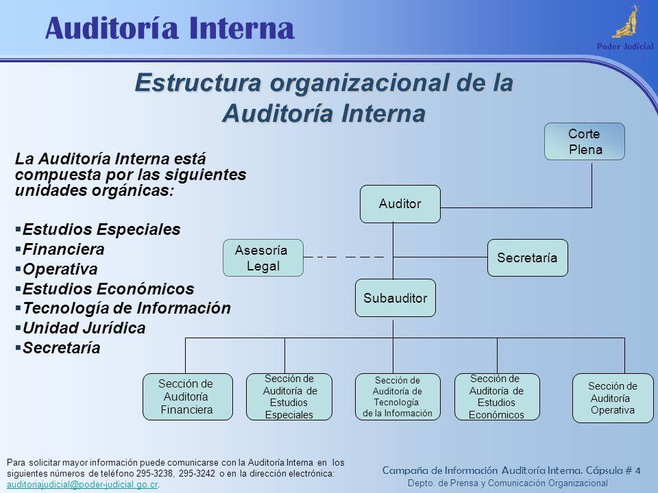 Auditoría Interna Estructura organizacional de la Auditoría Interna Poder Judicial La Auditoría Interna está compuesta por las siguientes unidades org