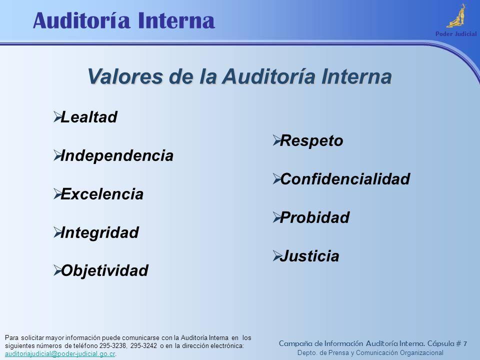 Auditoría Interna Valores de la Auditoría Interna Poder Judicial Lealtad Independencia Excelencia Integridad Objetividad Respeto Confidencialidad Prob