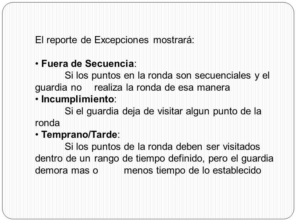 El reporte de Excepciones mostrará: Fuera de Secuencia: Si los puntos en la ronda son secuenciales y el guardia no realiza la ronda de esa manera Incu