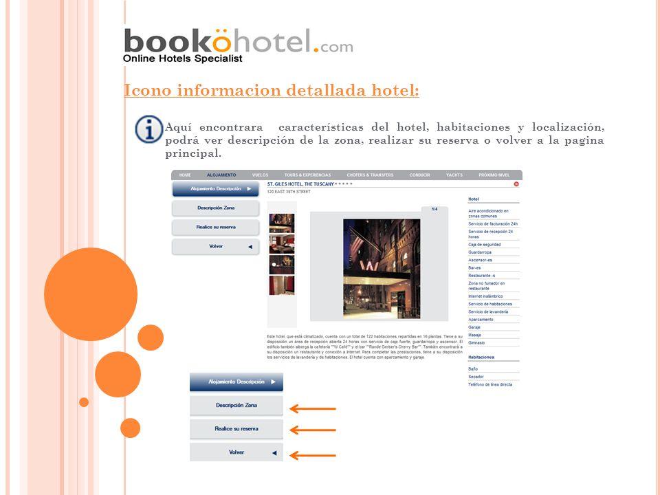 Aquí encontrara características del hotel, habitaciones y localización, podrá ver descripción de la zona, realizar su reserva o volver a la pagina pri