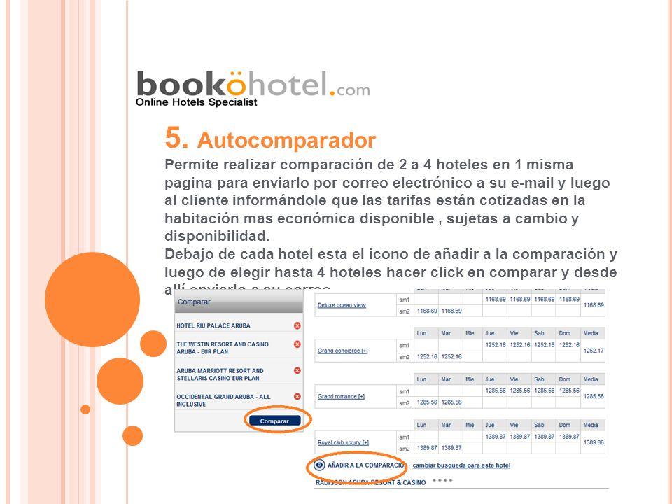 5. Autocomparador Permite realizar comparación de 2 a 4 hoteles en 1 misma pagina para enviarlo por correo electrónico a su e-mail y luego al cliente