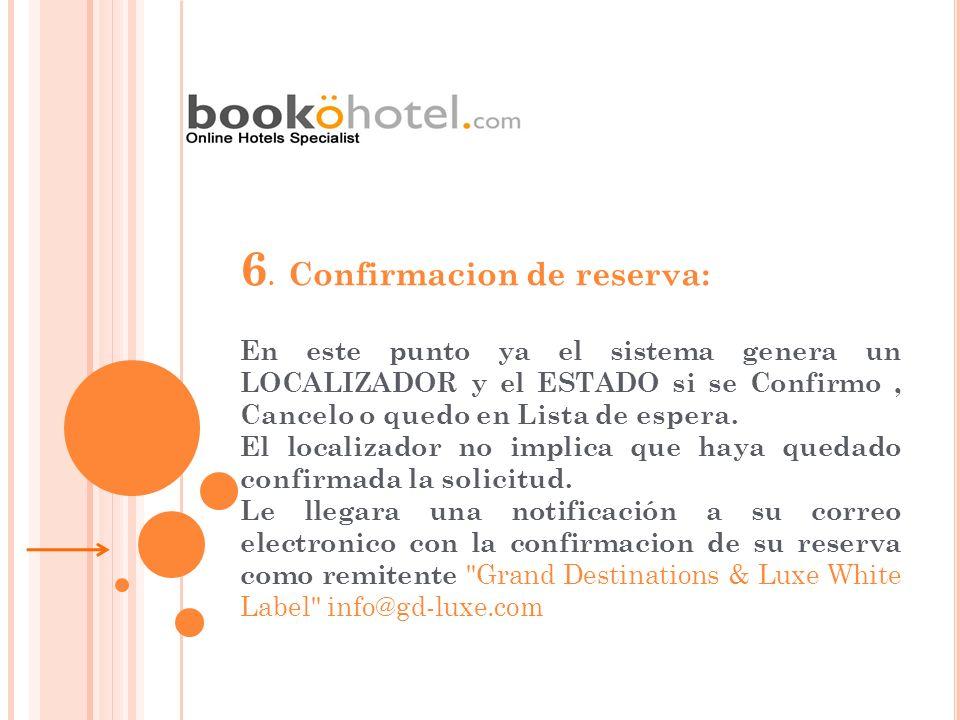 6. Confirmacion de reserva: En este punto ya el sistema genera un LOCALIZADOR y el ESTADO si se Confirmo, Cancelo o quedo en Lista de espera. El local