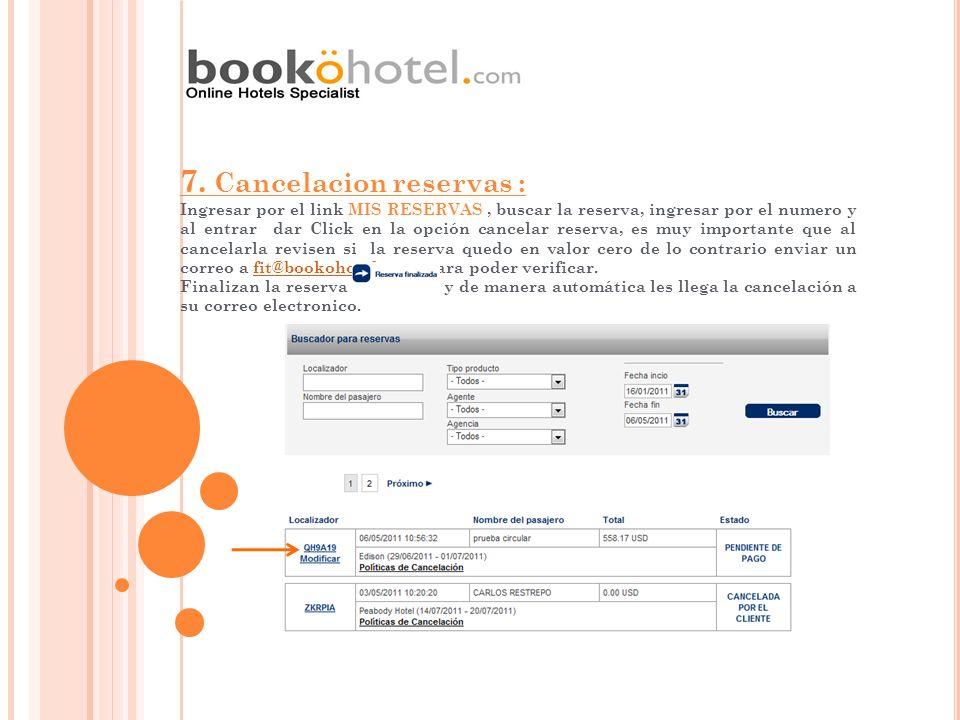 7. Cancelacion reservas : Ingresar por el link MIS RESERVAS, buscar la reserva, ingresar por el numero y al entrar dar Click en la opción cancelar res