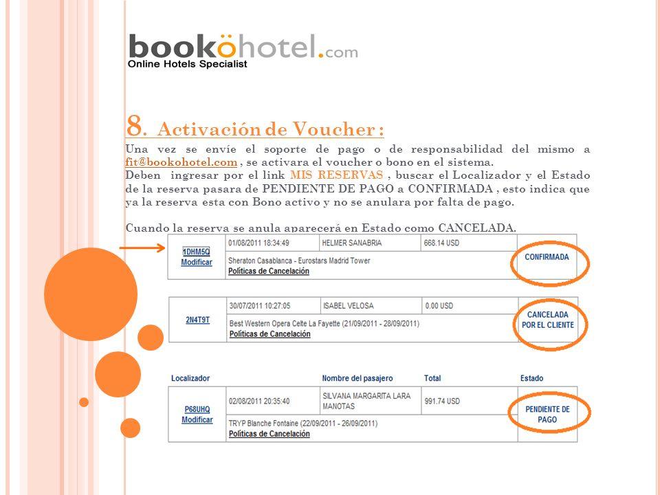 8. Activación de Voucher : Una vez se envíe el soporte de pago o de responsabilidad del mismo a fit@bookohotel.com, se activara el voucher o bono en e