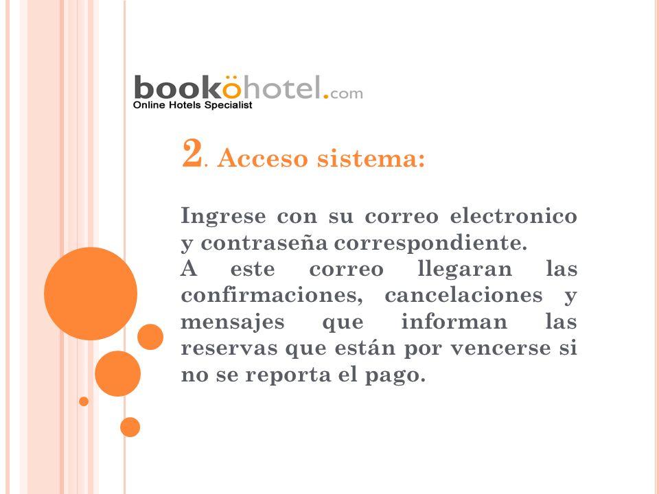 2. Acceso sistema: Ingrese con su correo electronico y contraseña correspondiente. A este correo llegaran las confirmaciones, cancelaciones y mensajes