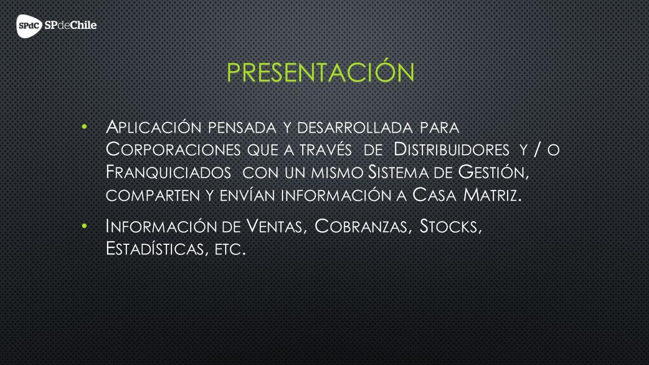 PRESENTACIÓN A PLICACIÓN PENSADA Y DESARROLLADA PARA C ORPORACIONES QUE A TRAVÉS DE D ISTRIBUIDORES Y / O F RANQUICIADOS CON UN MISMO S ISTEMA DE G ESTIÓN, COMPARTEN Y ENVÍAN INFORMACIÓN A C ASA M ATRIZ.
