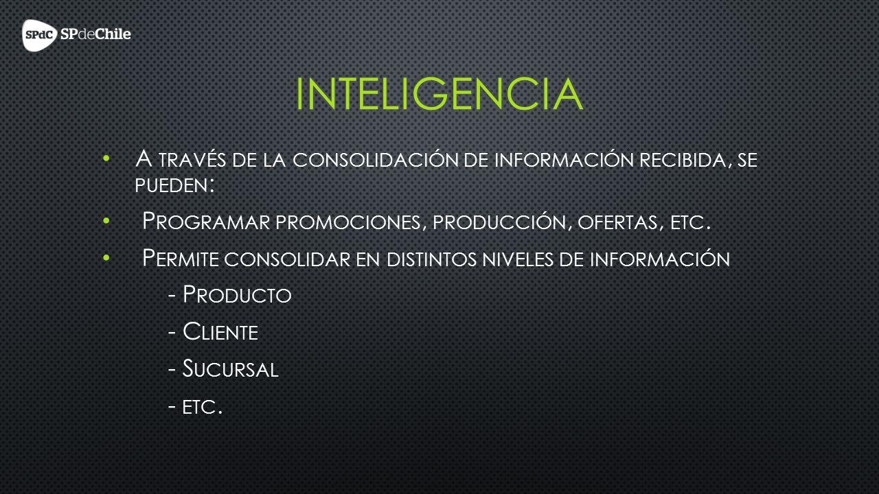 A TRAVÉS DE LA CONSOLIDACIÓN DE INFORMACIÓN RECIBIDA, SE PUEDEN : P ROGRAMAR PROMOCIONES, PRODUCCIÓN, OFERTAS, ETC.