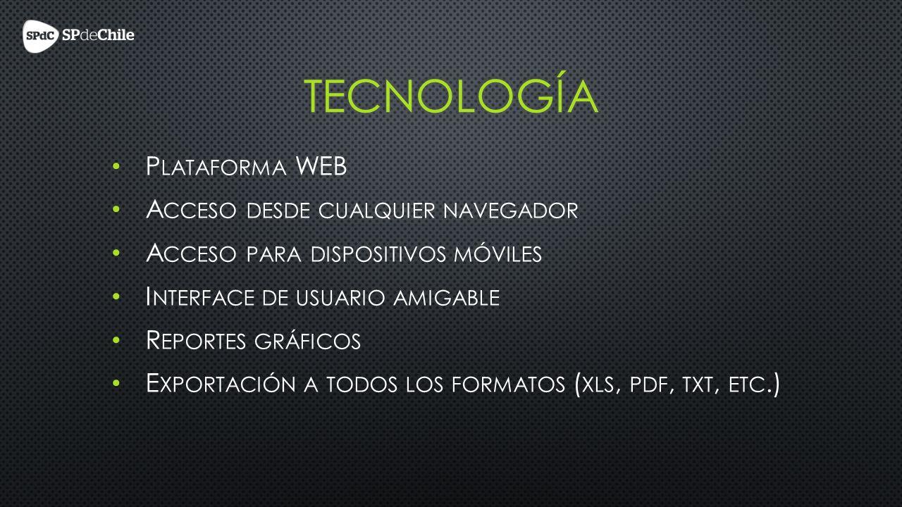 P LATAFORMA WEB A CCESO DESDE CUALQUIER NAVEGADOR A CCESO PARA DISPOSITIVOS MÓVILES I NTERFACE DE USUARIO AMIGABLE R EPORTES GRÁFICOS E XPORTACIÓN A TODOS LOS FORMATOS ( XLS, PDF, TXT, ETC.)