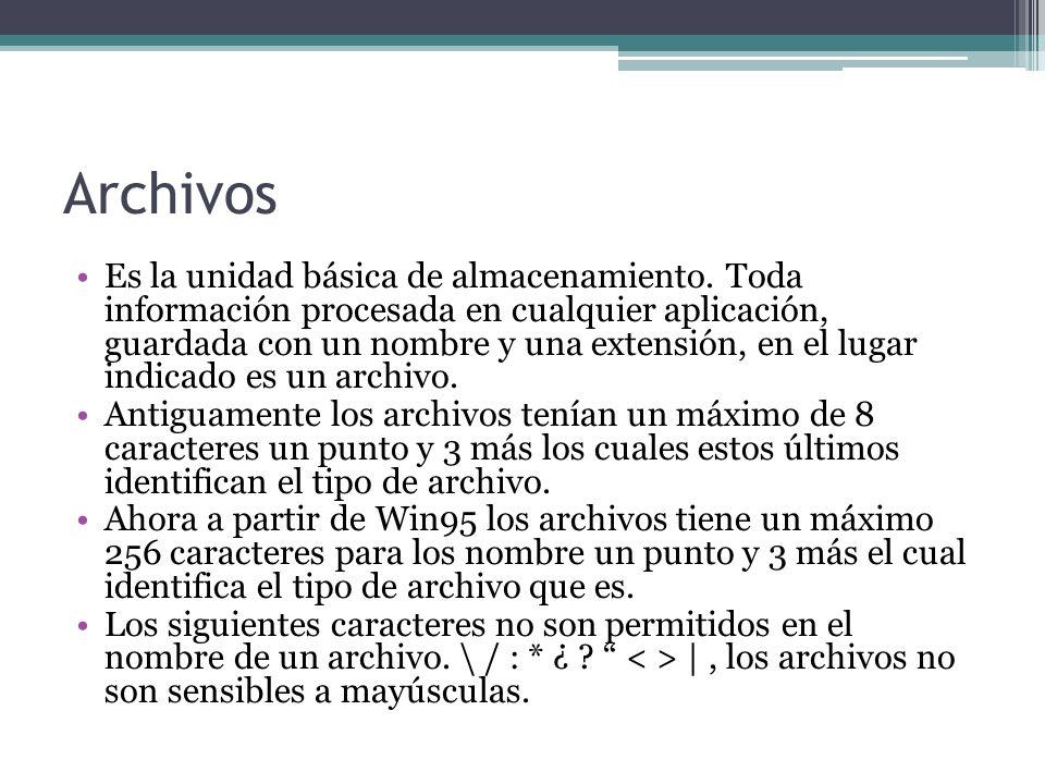 Archivos Es la unidad básica de almacenamiento.