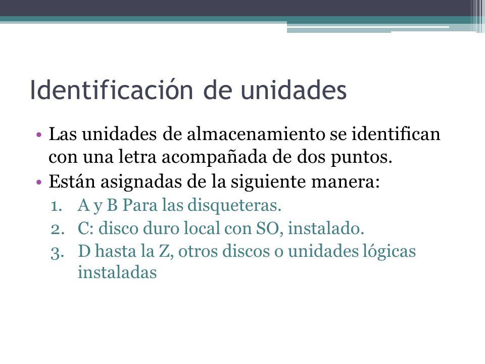 Identificación de unidades Las unidades de almacenamiento se identifican con una letra acompañada de dos puntos.