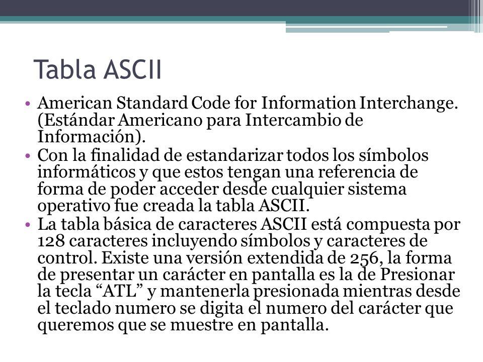Tabla ASCII American Standard Code for Information Interchange.