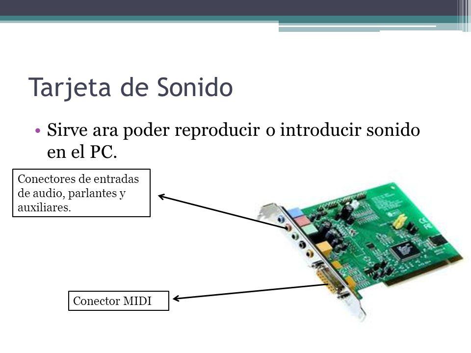 Tarjeta de Sonido Sirve ara poder reproducir o introducir sonido en el PC.