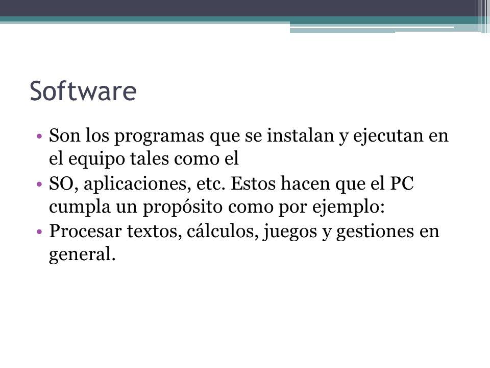 Software Son los programas que se instalan y ejecutan en el equipo tales como el SO, aplicaciones, etc.