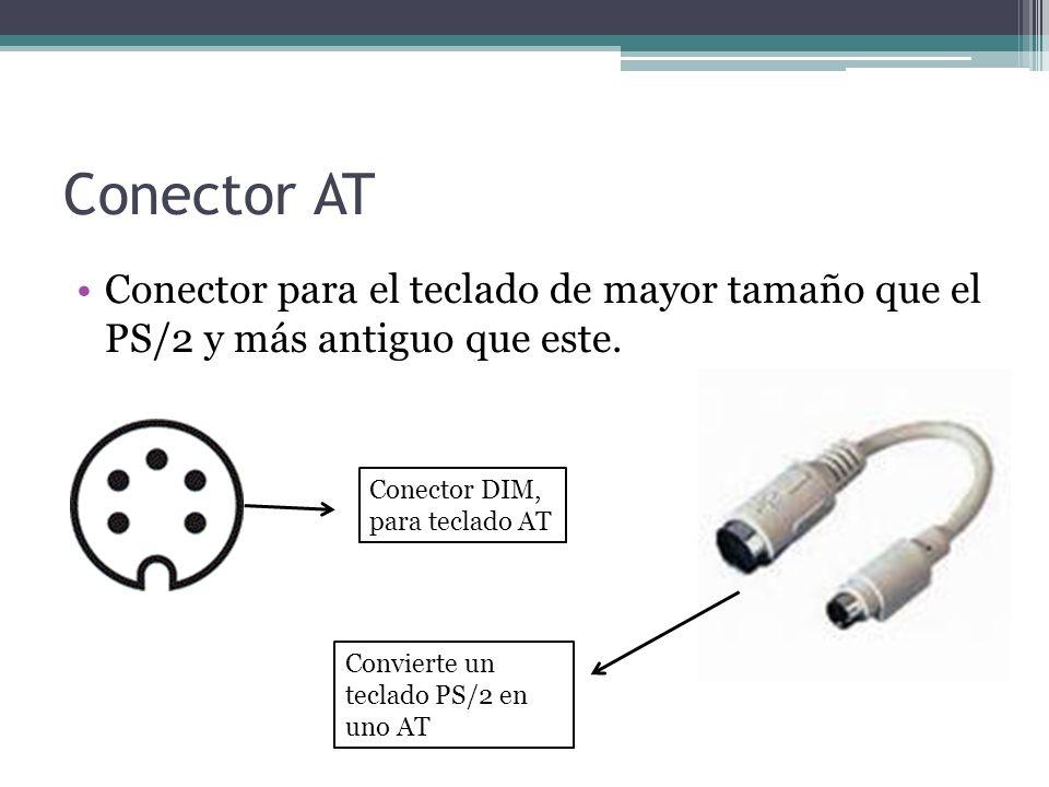 Conector AT Conector para el teclado de mayor tamaño que el PS/2 y más antiguo que este.
