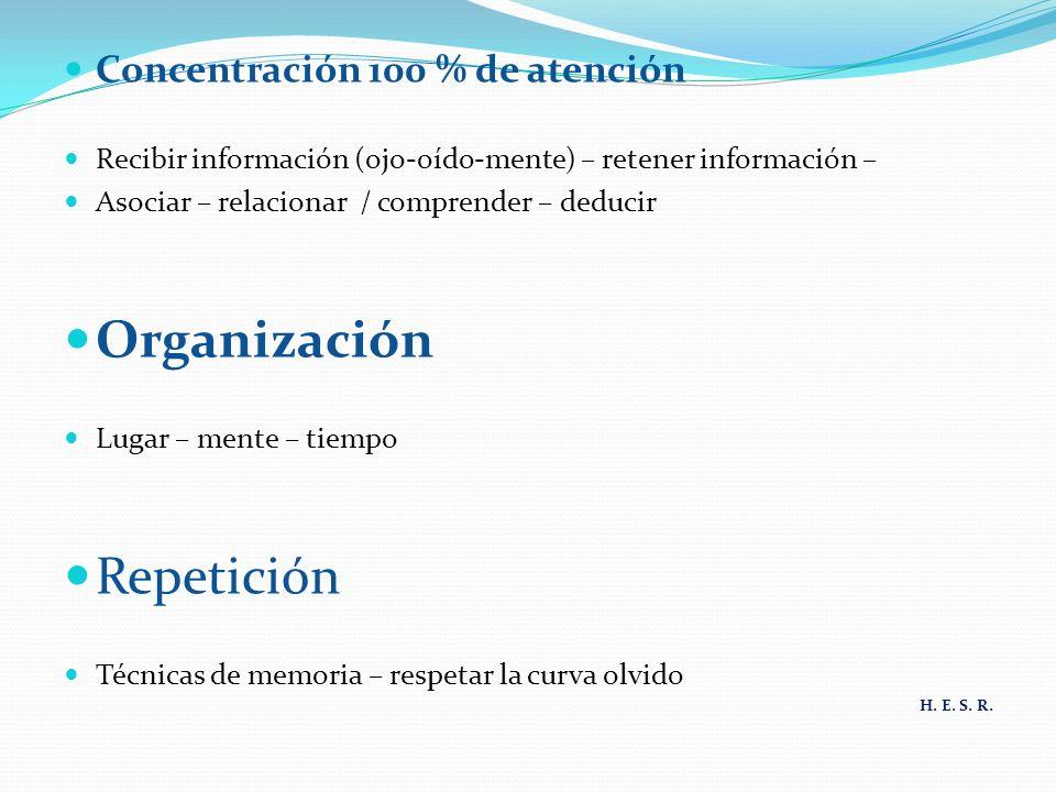 Concentración 100 % de atención Recibir información (ojo-oído-mente) – retener información – Asociar – relacionar / comprender – deducir Organización Lugar – mente – tiempo Repetición Técnicas de memoria – respetar la curva olvido H.